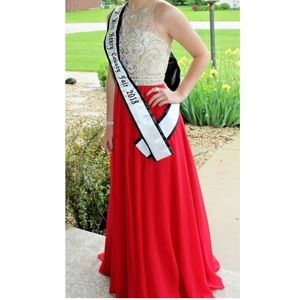 Jeweled Red Prom / Pageant Dress Clarisse Sz 2